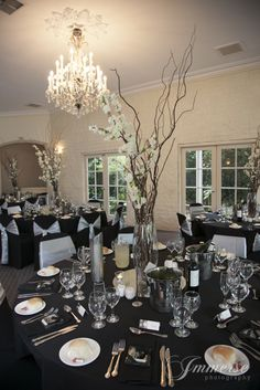 twisted willow, spring blossom with fairy lighting wired through this centrepiece