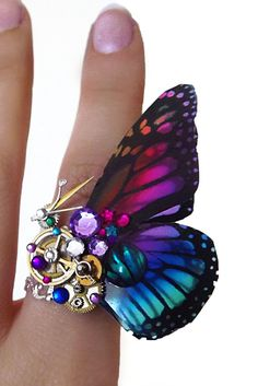 Steampunk ring, butterfly ring, rainbow ring, silver steampunk, filigree ring, abalone boho ring,  OOAK, magic ring, watch gear ring
