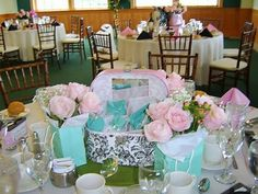 Pink and teal bridal shower idea.