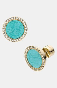 These earrings are classic, and always add an elegant element in a colorful but understated way. They blend with this style profile's curved, rounded facial features and textured hair. Michael Kors 'Seaside Luxe' Pavé & Stone Earrings | Nordstrom