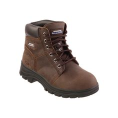 Skechers Women's Skechers Work Relaxed Fit Workshire Peril ST - Dark... ($85) ❤ liked on Polyvore featuring shoes, boots, ankle booties, ankle boots, dark brown, short lace up boots, safety toe boots, lace up booties, lace up work boots and lace-up ankle boots