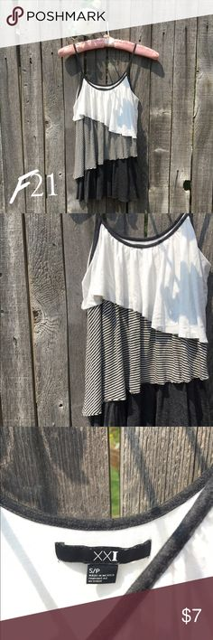 Forever 21 Ruffle Swing Tank Top S NWOT! Beautiful, fun and classy tank top. Flowy, twirly and perfect for dancing! White, charcoal grey striped, and black fabric. Size Small. Offers warmly welcomed! Forever 21 Tops Tank Tops