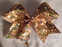 High Quality Luxury Glam Gold Sequin Cheer Bow on Etsy, $14.00