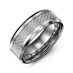 Mens Clear Carbon Fiber Inlay Polished Tungsten Ring #jewlr