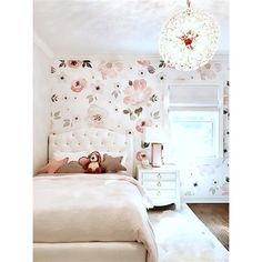 Pretty In Pink Modern Classic Pastel Floral Removable Wallpaper