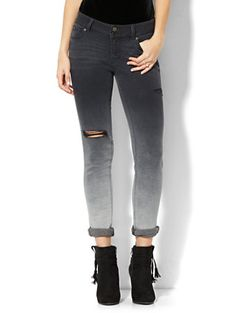 Shop Soho Jeans - Destroyed Boyfriend - Black Ombré Wash. Find your perfect size online at the best price at New York & Company.