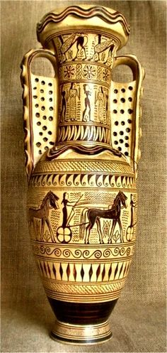 Greek Pottery :: Geometric Pottery :: Geometric Protoattic amphora - This amphora, painted by the Analatos painter. It features Chariots, dance of men and women, and sphinxes. First two decades of the 7th century B.C. Le Louvre, Paris.