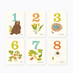 Woodland Counting Cards 1-10