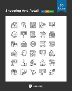 Shopping And Retail  Icon Pack - 30 Line Icons