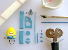 Fondant Tools Laid on Table, Next to Fondant Minion in Creation