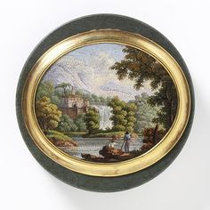 Hardstone Box With Micro Mosaic Mounted In Gold - Italy   c. Probably 1819