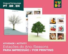 Atividades Estações do Ano . Seasons Activity . Montessori . | Etsy Printer, Seasons Activities, Activity Mat, Picture Cards, Etsy, Plants, Seasons Of The Year, Bebe, Trading Cards