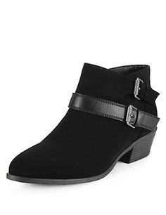 Low Cut Double Strap Wide Fit Ankle Boots with Insolia® Clothing