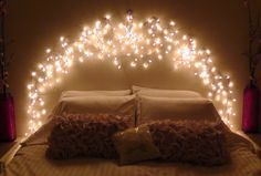 DIY Icicle Light Faux Headboard YouTube Best Design Fairy Lights ...