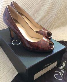 b199b9b2f05 COLE HAAN High Heels Open Toe Tortoise Patent Leather Air Pumps SZ 8.5 B w