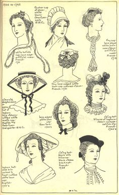 Village Hat Shop Gallery :: Chapter 11 - The Eighteenth Century :: 173_G  bottom right riding cap i love!