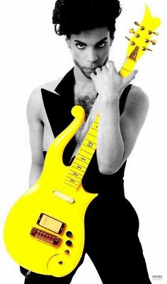 """Cool effect, the 'Canary Yellow"""" Diamonds & Pearls Cloud Guitar as it was…"""