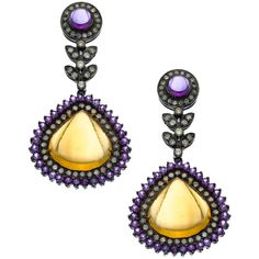 SOCHEEC Gold Silver Diamond Citrine and Amethyst Chandelier Earrings (104.575 RUB) ❤ liked on Polyvore featuring jewelry, earrings, silver diamond earrings, diamond chandelier earrings, diamond star earrings, silver teardrop earrings and silver chandelier earrings