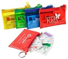 Stay safe with our rainbow colors first aid kits! These include bandages, alcohol pads, an antiseptic towelette and a sting relief pad! Prices starting at $1.35 each!