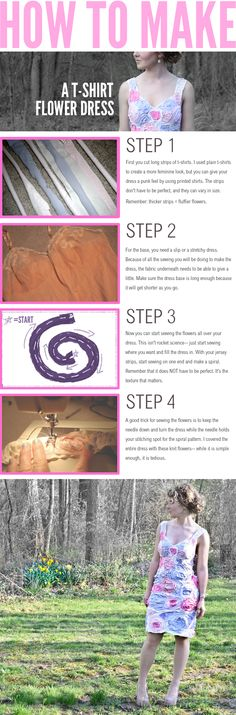 How to make a T-Shirt flower dress. I'm not sure I like the end result but its a very creative idea.