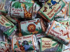 I like this for a birthday idea Jungle Animals Miniature Chocolate Bars by CandyBarBoutique, $16.99