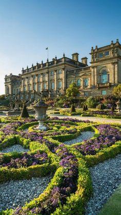 Beautiful Castles, Beautiful Buildings, Beautiful Gardens, Beautiful Places, Nature Aesthetic, Travel Aesthetic, Harewood House, Formal Gardens, Modern Gardens