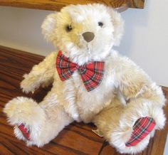 """Adorable bear seeks new home before Christmas.....  Vintage Bear Gina Jung Yoon Tan Cream 11"""" Stuffed Plush Animal Toy Made To Love  For sale in our Ebay store, click photo for details!  #stuffed #plush #teddybear #bear #toy #doll #tan #plaid #bow"""