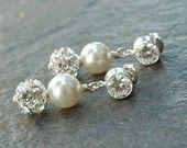Rhinestone pearl earrings, wedding bridal jewelry, cubic zirconia crystal drops, matching bridesmaid jewelry - Persephone. $37.00, via Etsy.