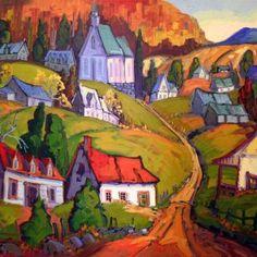 St-Jean-des-piles par Normand Boisvert 30 x 40 / Huile sur toile  #Toile #Peinture #Painting #Art #Artist #paysage #landscape Expositions, Land Scape, Les Oeuvres, Paintings, Oil On Canvas, Normandie, Landscape, Artist, Paint