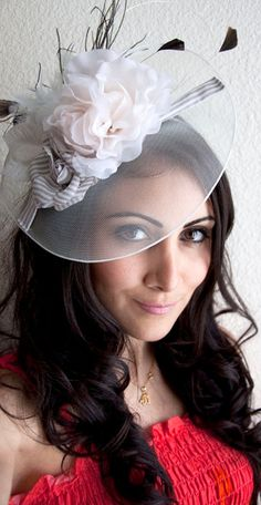 Ivory Fascinator Hat - English Rose Couture Hat Fascinator Headband with Feathers and Quills on Etsy, $64.00