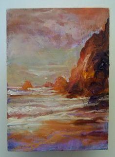 "Seascape oil painting Gail Grant plein air impressionist original 5"" x 7"" ocean #Impressionism"