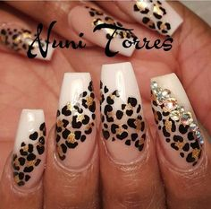 There are three kinds of fake nails which all come from the family of plastics. Acrylic nails are a liquid and powder mix. They are mixed in front of you and then they are brushed onto your nails and shaped. These nails are air dried. Cheetah Nail Designs, Leopard Print Nails, Nail Art Designs, Leopard Prints, Leopard Nail Art, Wild Nail Designs, Animal Nail Designs, Bling Nails, Glitter Nails