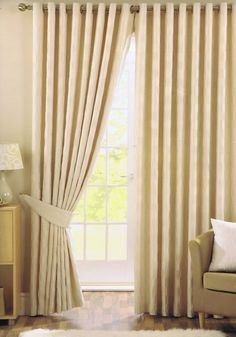 Lyons Dash Eyelet Ready Made Curtains Lined Pair | eBay