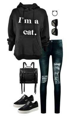 """""""Untitled #3462"""" by meandelstyle ❤ liked on Polyvore featuring Boohoo, Puma, McQ by Alexander McQueen, Yves Saint Laurent and Kate Spade"""