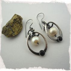 Yin/Yang Sterling Silver Pearl and Onyx Oblong Hoops by onlyhoops, $48.00