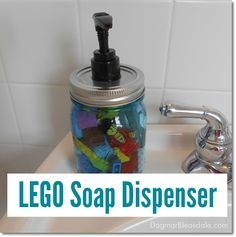 Lego Soap Dispenser, a Great DIY Gift for Kids! Dagmar's Home DagmarBleasdale.com #LEGO #DIY #giftsforkids #handmade #Christmas #birthday