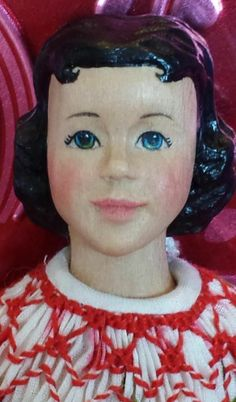 """Hitty A Wooden Doll with A Heart Hand Carved Basswood 6 1 4"""" Tall 