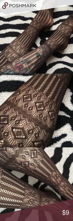 Brown patterned tights Brown patterned tights. Size XS/0. Bought at Harrods in London (not sure of brand). Brand new except to try on. No holes or tears. Harrods Accessories Hosiery & Socks