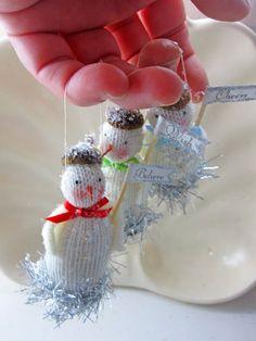 Trio of Tiny Snowmen Ornaments