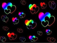 Colorful Rainbow Neon Hearts Background Photo by ...