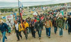 Protesters demonstrate against the Energy Transfer Partners' Dakota Access…