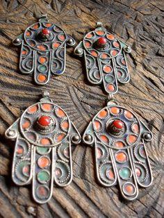 Tarnished enamel Moroccan  hand of Fatima hamsa khamsa charm pendants