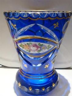 RARE-HEAVY-19TH-CENTURY-HANDPAINTED-COBALT-BLUE-BOHEMIAN-MOSER-GOLD-LEAF-VASE