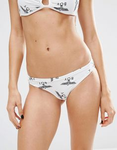 Buy it now. Boy London Repeat Logo Bikini Bottoms - White. Bikini briefs by BOY London Printed swim fabric Low rise The sizing on this style runs small It may be advisable to order a size up Machine wash 80% Nylon, 20% Elastane Our model wears a UK 6/8/Small , bikini, bikini, biquini, conjuntosdebikinis, twopiece, trisuit. White Boy london  swimsuit  for woman.