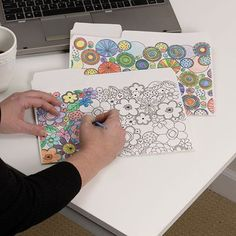 Coloring file folders. Great idea for those who are into adult coloring or use coloring books.