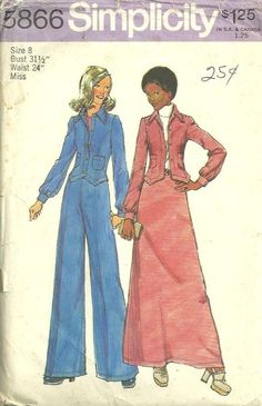 Simplicity 5866 1970s Misses Jacket Wide Leg Pants and Maxi Skirt Pattern Womens Vintage Sewing Pattern by patterngate.com
