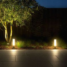 Add soft ambient light to you outdoor layout with the Bega LED Garden Luminaire - A White Opal glass shade gives you even illumination, and the sealed construction ensures years of corrosion-free light. It resists and rough treatment as well, with i Best Outdoor Lighting, Outdoor Post Lights, Lighting Ideas, Driveway Landscaping, Modern Landscaping, Landscaping Design, Modern Landscape Lighting, Driveway Lighting, Exterior Lighting