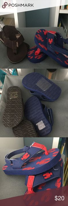3/4 sandal bundle These are two pairs of size 3/4 boys sandals, right in time for the warm weather. My son never wore the brown Reef sandals, the Gymboree lobster sandals were worn once. Gymboree Shoes Sandals & Flip Flops
