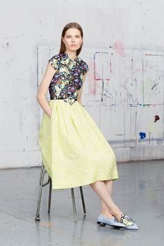 Erdem | Resort 2015 Collection | Style.com color...i've been using light lime with jades and mints with an accent of corals and reddish rusty browns