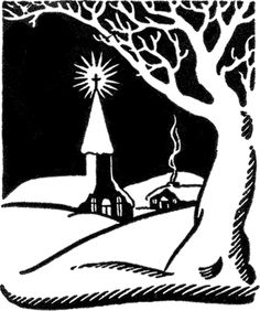 Retro Christmas Church Image - The Graphics Fairy